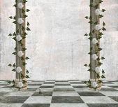 Empty room with columns and roses — Stock Photo