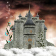 Wonderful palace over the clouds — Stock Photo