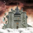 Wonderful palace over the clouds - Stock Photo
