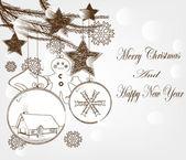 Hand drawn christmas postcard with christmas elements — Stock Vector