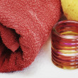 Stock Photo: Red towel and washcloth