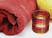 Red towel and washcloth — Stock Photo