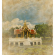 Thai style pavillion picture on old vintage paper - Stock Photo