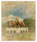 Thai style pavillion picture on old vintage paper — Stock fotografie