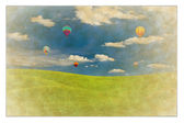 Hotair balloon picture on vintage paper — Stock Photo