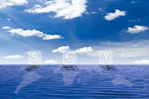 Money sign and world map on the sea — Stock Photo