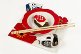 Donut sushi set in Japanese style plate with chopsticks — Stock Photo