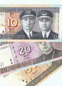 Lithuanian banknotes, 10, 20 and 50 Lithuanian litas. — Stock Photo