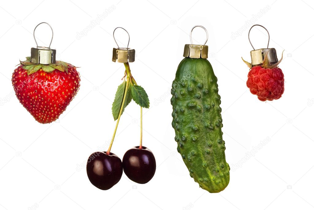 Christmas tree decorations from fruits and vegetable — Stock Photo ...