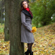 Girl in park colourful autumn — Stockfoto