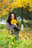 Girl in park colourful autumn — Stock Photo