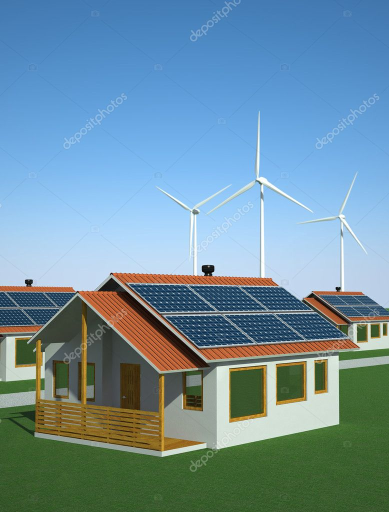 Houses powered  with solar and wind energy. Alternative energy concept. 3D image — Stock Photo #6839475