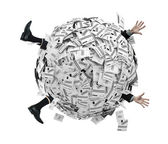 Businessman buried in sphere of financial invoices — Stock Photo