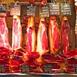 Spanish ham at Boqueria Market in  Barcelona - Stock Photo