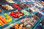 Sweet stall at Boqueria Market in Barcelona - Spain — Stock Photo