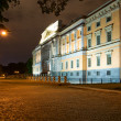 The facade of the Mikhailovsky Castle. Night St. Petersburg. Rus - Stock Photo