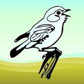 Bird on the branch — Stock Vector