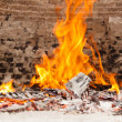 Chimney with fire burning — Stock Photo