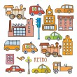 Transport in the style of cartoon — Stock Vector