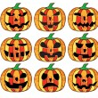 A set of halloween pumpkins — Stock Vector