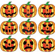 A set of halloween pumpkins — Stock Vector #7583121