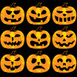 Set of halloween pumpkins — Stock Vector #7583186