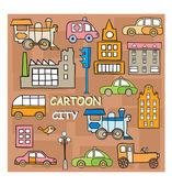Staden i stil tecknad — Stockvektor