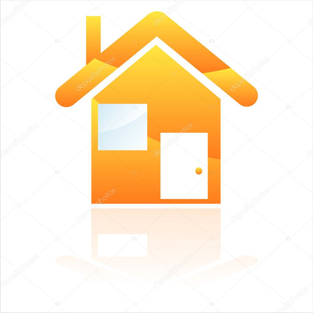 Glossy orange house icon — Stock Vector #6861465