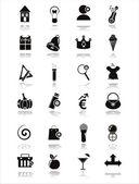 Iconos web negro — Vector de stock
