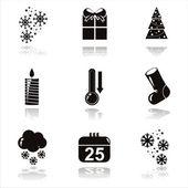 Black christmas icons — Stock Vector