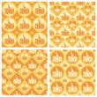 Cute pumpkins patterns — Stock Vector