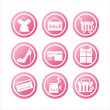 Pink shopping signs - Stock Vector