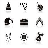 Schwarz-weihnachts-icons — Stockvektor