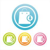Carteles coloridos bolsos de compras — Vector de stock