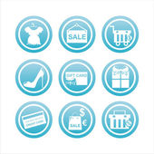 Blue shopping signs — Vector de stock