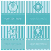 Cute blue baby pacifiers frames — Stock Vector