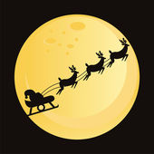 Santa claus with deers silhouette — Stock Vector