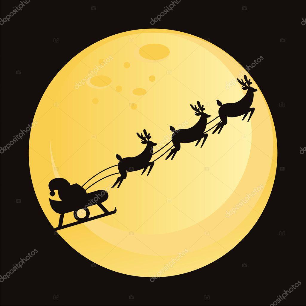 Santa Silhouette Moon Deers silhouette over moon