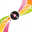 Musical vinyl record background — Stock Vector