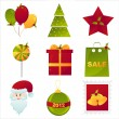 Colorful christmas icons — Stock Vector