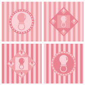 Cute pink baby pacifiers backgrounds — Stock Vector