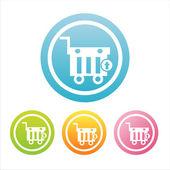 Coloridas tiendas signos de cestas — Vector de stock