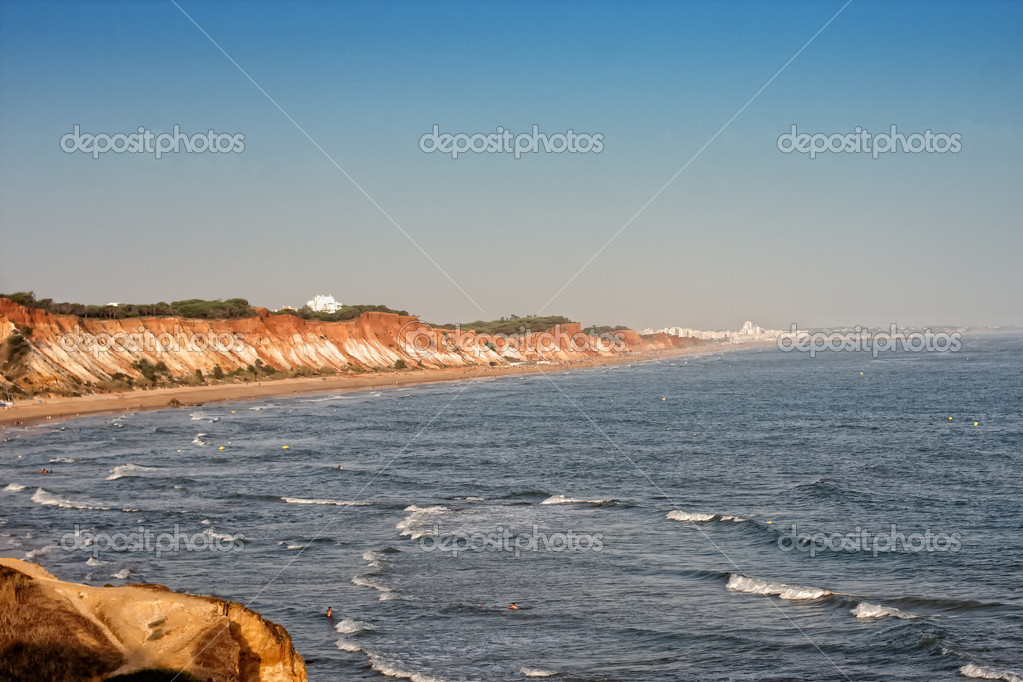 The coastline in Alhos de Agua in Portugal the Algarve  Stock Photo #7397364