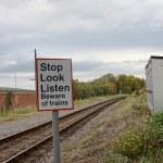 A UK railway line warning — Stock Photo