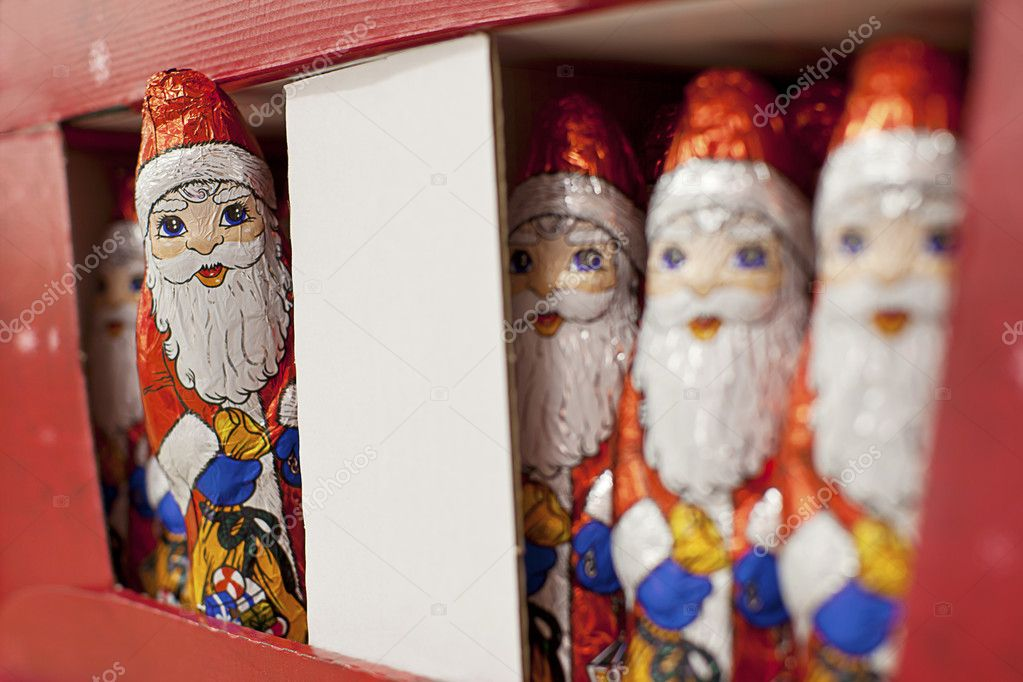 A box of chocolate Father Christmas ready for christmas shopping — Stock Photo #7593244