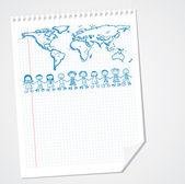 šťastný svět děti na papíře — Stock vektor