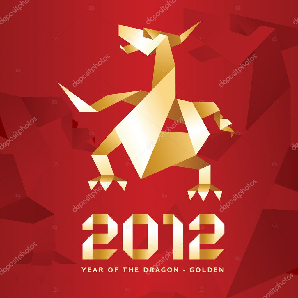Origami Dragon, 2012 Year - Red — Stock Vector © ecelop ... - photo#43