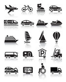 Set of simple transport icons with reflection — Stock Vector