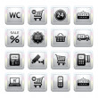 Vector de stock : Set pictograms supermarket services, Shopping Icons. Gray. Web 2.0 icons