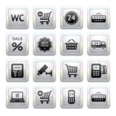 Set pictograms supermarket services, Shopping Icons. Gray. Web 2.0 icons — Stock Vector